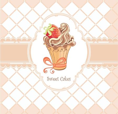 Uitstekende kaart met cupcake