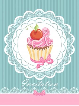 Carte de cru avec gâteau