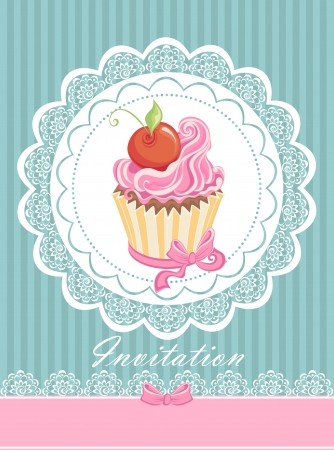 confection: Vintage card with cupcake