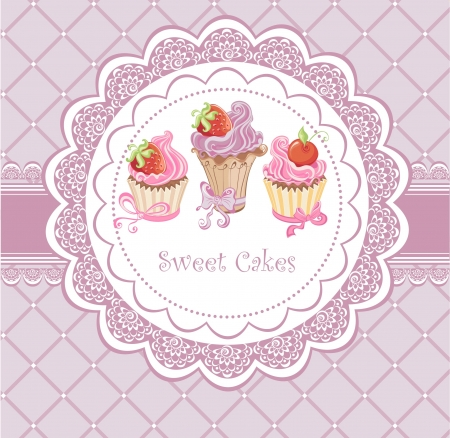 confection: Vintage card with cupcakes