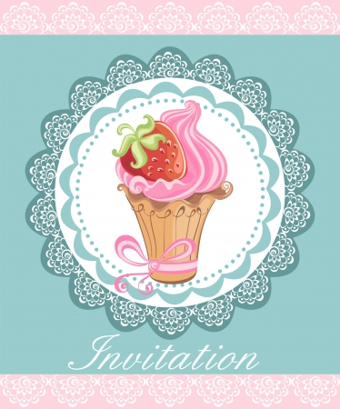 Vintage card with cupcakes Vector