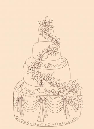 wedding cake illustration: Sweet cake. Vector happy birthday card.