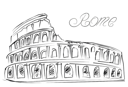 roman amphitheater: Colosseum in Rome, Italy  Vector sketch