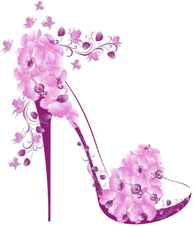 Shoes on a high heel decorated with orchids  Vector