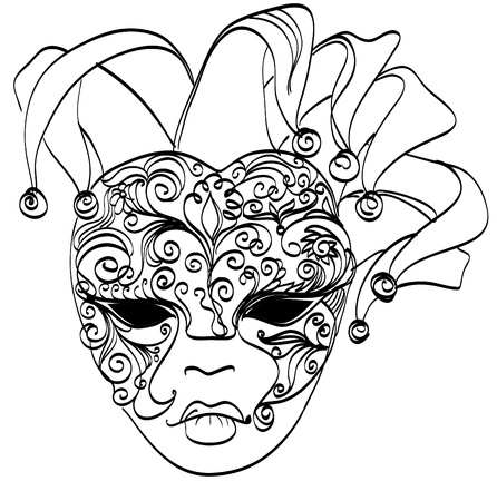 Vector sketch venetian mask  Carnival mask from venice Italy  Isolated on white  Vector