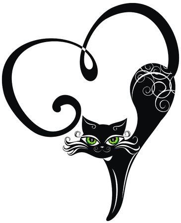 Black cat with hearts  Stock Vector - 17641203