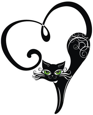 siluetas de enamorados: Gato negro con los corazones