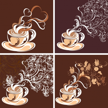 Coffee cups. Collection background.  Illustration