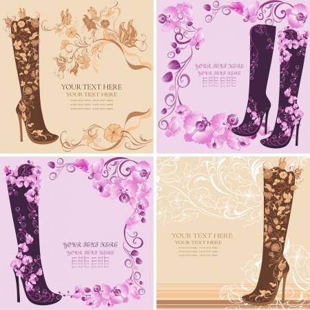 Fashion design of female boots in high heels Stock Vector - 17643862