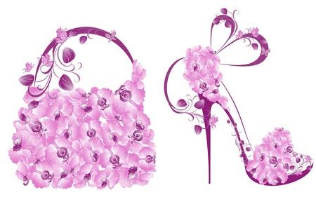 zapato: Hermosas mujeres zapatos y bolsos Vectores