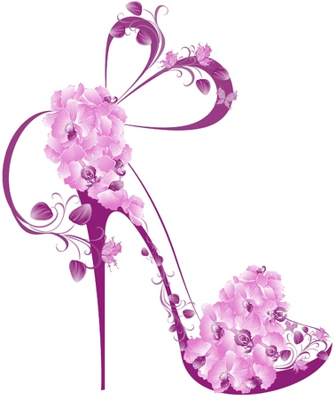 Chaussures sur un haut talon décoré avec des orchidées Banque d'images - 17642476