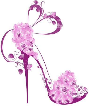 Sapatas em um salto alto decorado com orquídeas Ilustração