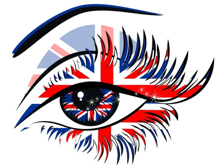 Flags of the Great Britain in beautiful female eye  Vector