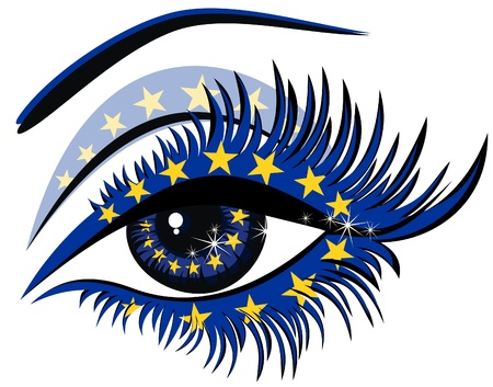 European Union Flag in female eye  Vector