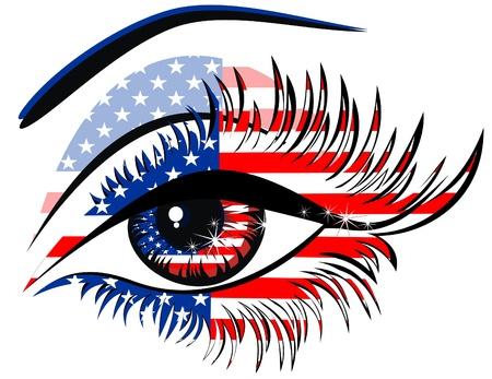 ville usa: Drapeaux des Etats-Unis dans la belle oeil f�minin Illustration