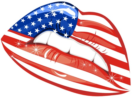 Flags of the USA in sensuality lips  Vector