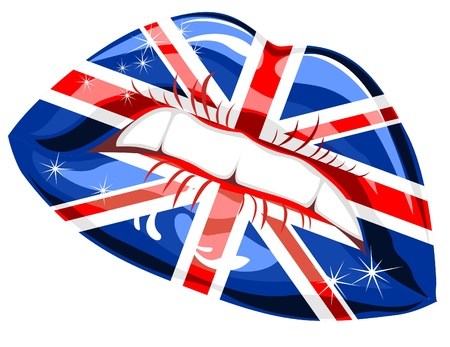 Gran Bretaña bandera carmín en los labios de sensualidad Ilustración de vector