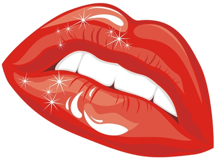 Sensuality lips. Red lipstick Vector