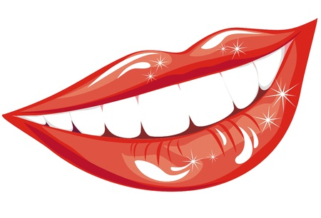 Beautiful smiling mouth with healthy teeth isolated on white  Vector