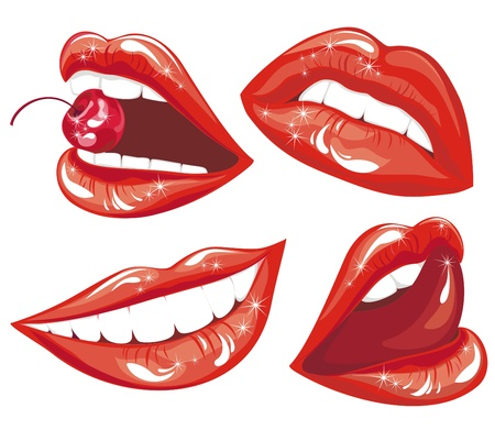 Set Red lips Stock Vector - 17642438