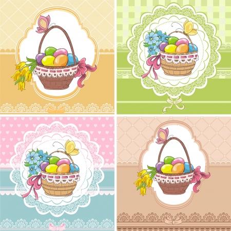 huevo caricatura: Establecer Pascua tarjetas vintage con canasta y huevos Vectores