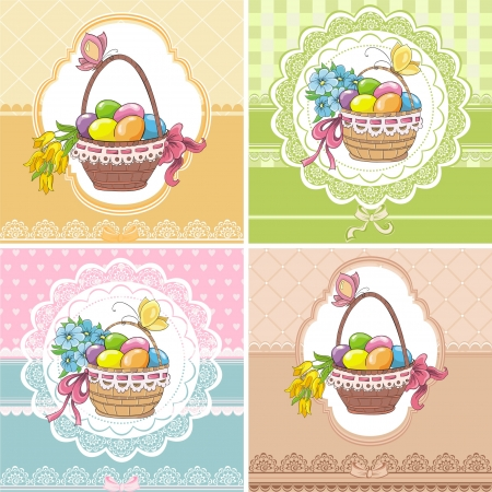 eggs in basket: Set Easter vintage cards with basket and eggs