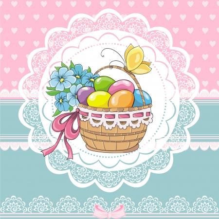 Pascua del vintage tarjetas con cesta y los huevos Ilustración de vector