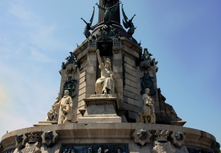 Pedestal of Columbus monument  in Barcelona, Catalonia, Spain photo