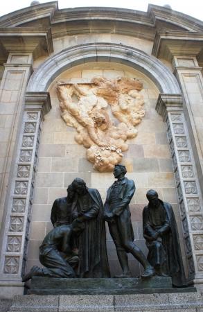 old quarter: Sculptures in Barri Gotic Quarte  Barcelona, Spain  Stock Photo