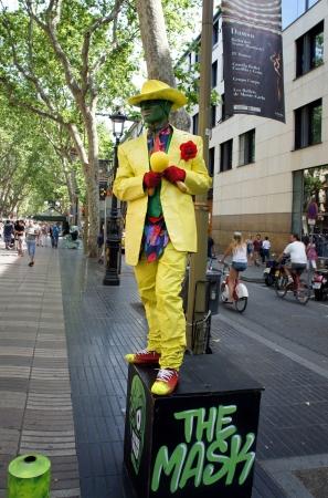 the ramblas: BARCELONA - MAY 29: Street artist dressed as Masks in Ramblas, Barcelona, Catalunia, Spain on 29 May 2012.