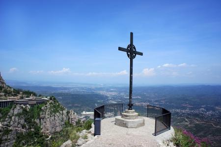 montserrat: Cross in Mountains Montserrat, Catalonia, Spain  Stock Photo