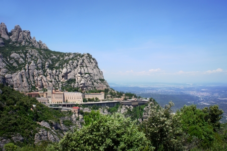 monastery nature: Montserrat Monastery is a beautiful Benedictine Abbey high up in the mountains near Barcelona, Catalonia, Spain