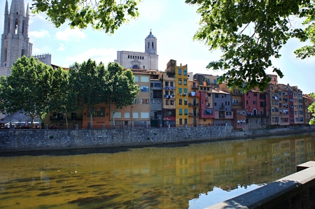 Colorful houses in old town of Girona, Catalonia, Spain photo