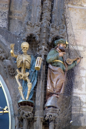 exact science: Detail of the astronomical clock and statues in the town hall of Prague