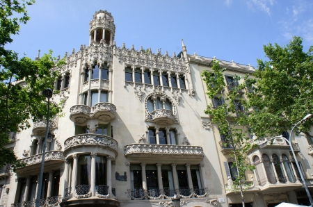 Old beautiful architecture at famous Passeig de Gracia street (Eixample district) at Barcelona, Spain Stock Photo - 19652175