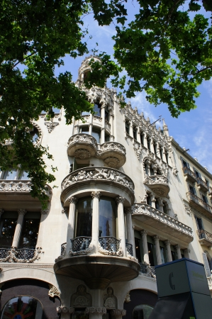 Old beautiful architecture at famous Passeig de Gracia street (Eixample district) at Barcelona, Spain Stock Photo - 19652172
