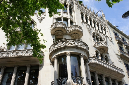 modernist: Old beautiful architecture at famous Passeig de Gracia street (Eixample district) at Barcelona, Spain