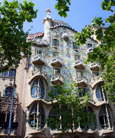 BARCELONA, SPAIN - MAY 28: The facade of the house Casa Battlo (also could the house of bones) designed by Antoni Gaudi on May 28,2012  Barcelona, Spain