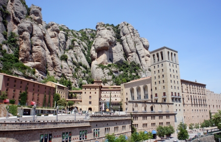 Montserrat Monastery is a beautiful Benedictine Abbey high up in the mountains near Barcelona, Catalonia, Spain  Stock Photo - 19652182