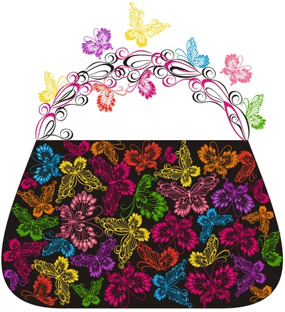Shopping bag with butterflies Vector