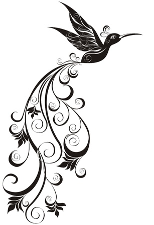 Vector tattoo hummingbird  Vector