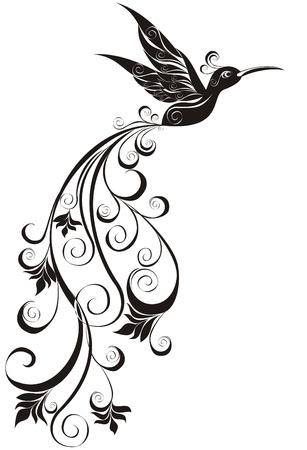 tattoo: Vector tattoo hummingbird