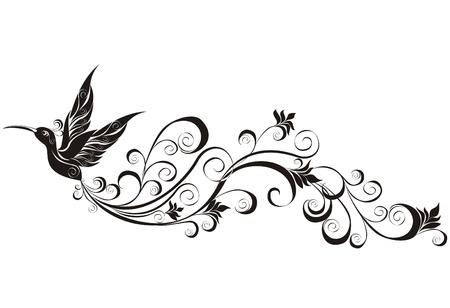 Vector tattoo hummingbird