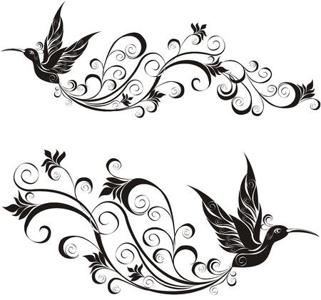verschnörkelt: Tattoo Kolibri