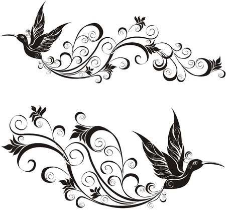 boom met vogels: tattoo kolibrie Stock Illustratie
