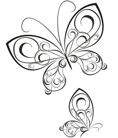 butterflies: Vector of black and white butterflies