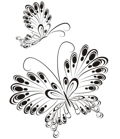 Vector of black and white butterflies