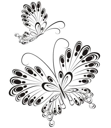 preto: Vetor de borboletas em preto e branco