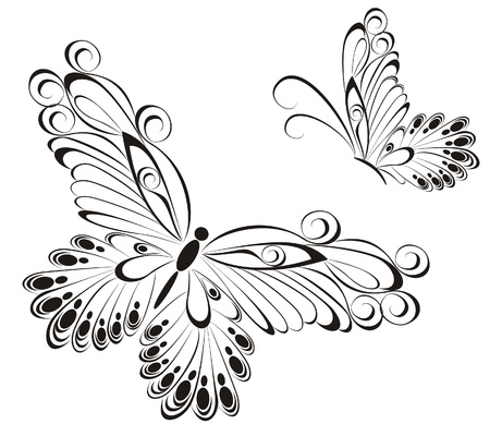 Vector of black and white butterflies Stock Vector - 20225681