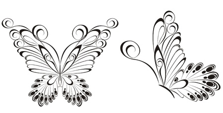Vector of black and white butterflies  Vector